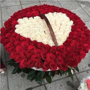 Корзина 301 роза с сердцем R921