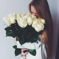 Букет 19 высоких белых роз с лентой R013